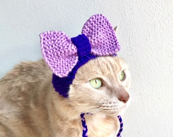 Purple Bow Hat For Cats - Hand Knit Cat Party Hat - Purple Cat Costume - Knit Pet Hat With a Bow