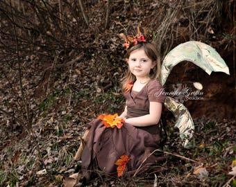 Childrens Fairy Costume- Complete Fairy Costume- Fall Fairy Costume- Tattered Fairy Dress- Fairy Wings- Halloween Costume- Kids Costume