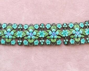 Rhinestone Bracelet Flowered Wide Blue Cherubs Wide Vintage
