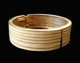 Bangle Bracelet Enamel Clamper Style Gold & Cream Stripe