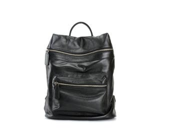 Large black leather backpack / leather backpack / leather rucksack