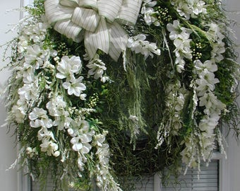 Large Spray Wreath Elegant Summer Spring Front Door Wreath Silk Floral Decoration White Freesia Spanish Moss Natural Grapevine Entryway