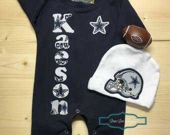 Dallas cowboys monogrammed baby romper personalized baby dallas cowboys personalized baby romper and hat set cowboys baby outfit personalized baby negle