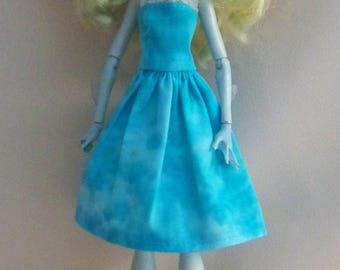 Handmade Monster High Clothes-Aqua Print Monster High Dress