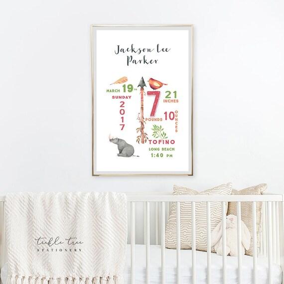 Art Print - Birth Poster, Boho and Rino (W00031)