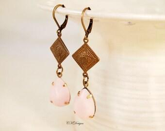 CIJ Pink Vintage Style Drop Earrings,  Brass Dangle Pierced or Clip-on Earrings, Vintage Style Drop Earrings, Romantic Pink Dangle Earrings
