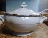 Vintage Chodziez - Poland Contessa Pattern Soup Tureen, with Ladle and Lid, Platinum Trim