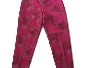 90s Silk Asian Floral Print Trouser Pants