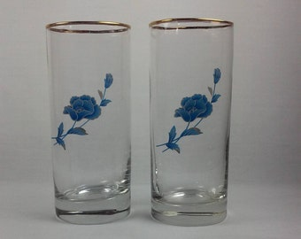 Water Glasses, Set of 2 Clear Glass Drinking Glasses, Gold Trimmed Blue Flowers, Gold Trimmed Rim