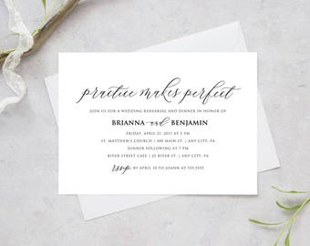 Printable Wedding Rehearsal and Dinner Invitation, Practice Makes Perfect