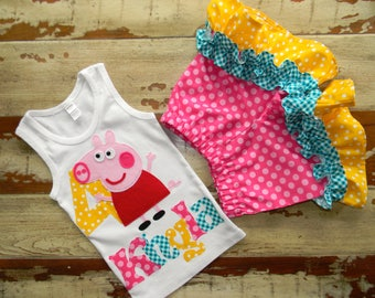 Peppa Pig Shorts Outfit, Tank or Short Sleeved Shirt with Shorts,  6-12m to 8 years