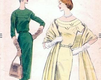 Chic Vintage 1950s Vogue 8907 Seam Interest Yoked Sheath Dress and Stole Sewing Pattern B30