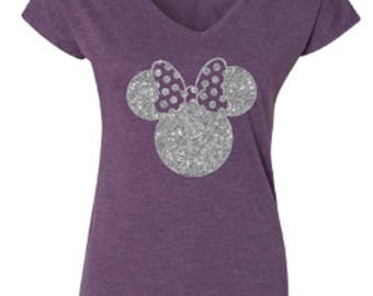 Disney Shirts/ Glitter Minnie Shirt/ Disneyland Shirt/ DIsney World Shirt/ Disney Minnie Tank/ Plus Size Disney Shirts/ Disney Girls Trip