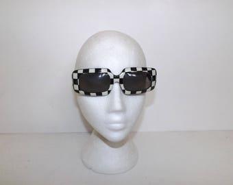Vintage 1960s oversized checked sunglasses black white checkered mod glasses by Whitecross