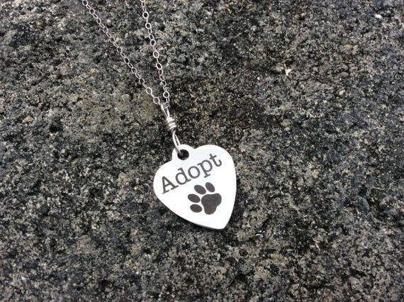 """Sterling Silver, """"Adopt"""" Charm, Necklace"""