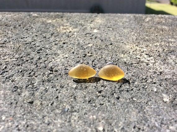 Surf Tumbled Golden Honey Seaglass Stud Earrings