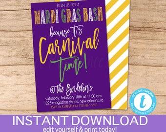 Mardi Gras Invitation, Carnival Time, Mardi Gras bash, Editable Party template, mardi gras party invite, Fat Tuesday, Instant Download