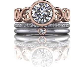Bezel Set Engagement Ring - Moissanite Ring - Stackable Anniversary Bands - Insieme™ Bridal Stackables