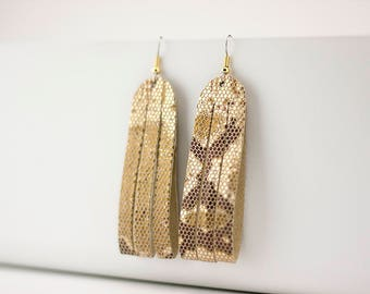 Leather Earrings / Sliced Leather / Glitzy Gold