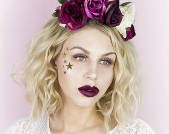 OLIVIA Plum and Ivory Flower Headband - Flower Girl