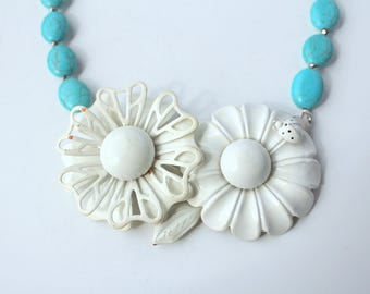 Daisy Necklace, Statement Necklace, Collage Necklace, Recycled Necklace, Recycled Jewelry, Upcycled Jewelry,Turquoise Necklace,Daisy Jewelry