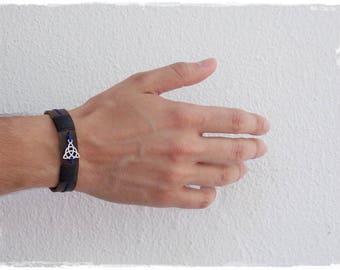 Men's Leather Bracelet, Celtic Leather Bracelet, Triquetra Bracelet, 3rd Anniversary Bracelet, Trinity Knot Bracelet, Wristband For Him