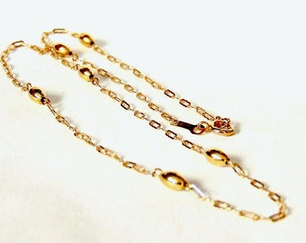 14k Gold Link and Bead Chain Necklace. 17 Inch, Yellow Gold