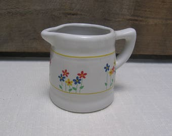 Ceramic Measuring Cup with Flowers, Pitcher style 1/2 Cup Measuring Cup, White and Flowers, Red Blue Yellow Flower, Vintage Kitchen