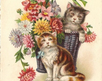 Cute Kittens & Flower Basket Antique French Chromolithograph Postcard Post Card from Vintage Paper Attic