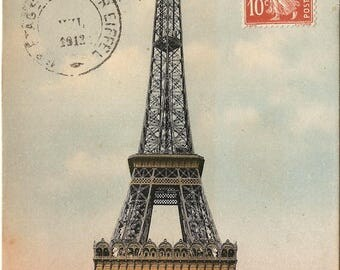 Eiffel Tower with view of Trocadero Palace, Paris & Tour Eiffel Postmarks Antique French Postcard Paris France from Vintage Paper Attic