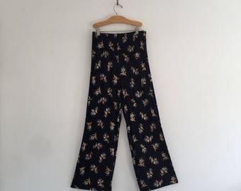 Vintage Palazzo Crinkle Rayon Navy Floral Pants M