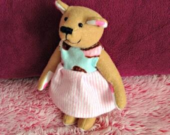 Felt Teddy Bear Plushie in Ice Cream Dress