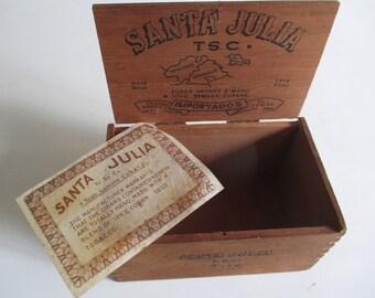 Dovetailed Cigar Box, Vintage Santa Julia Tobacciana Tobacco Decorative Storage Display
