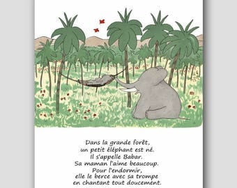 """French Nursery Boy, FRENCH TEXT (Mother Son Baby Shower Gift) """"Sa Maman L'aime Beaucoup"""" -- Babar the Elephant Print"""