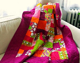 Modern quilt , Twin Quilt, Patchwork Quilt, Handmade Quilt, Homemade Quilt, Patchwork Quilt, Patchwork Blanket, Bold color quilt
