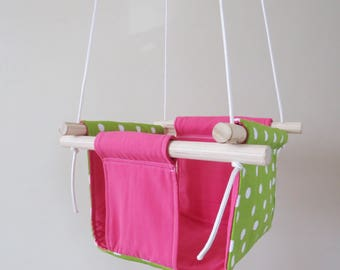Watermelon inspired Fushia and Green Dots Fabric Baby and Toddler Swing - Fabric and Wood Interior Swing