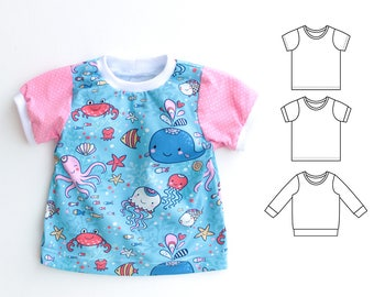 JELLY Boy Girl T Shirt sewing pattern Pdf, Short and Long Sleeves, Girl Boy Jersey Knit JELLY T-shirt 0 - 10 years,  Instant Download
