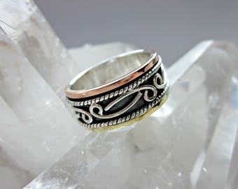 Precious Metals Meditation Ring - Spinning Ring - Sterling Silver, Copper and Brass