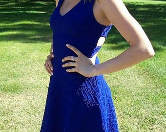 Vintage 90s Ladies Royal Blue Halter Mini Dress by Charlotte Russe Extra Small Only 12 USD