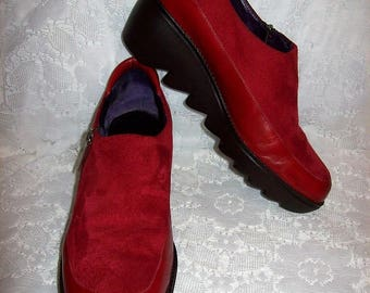 Vintage 90s Ladies Red Leather & Suede Size Zip Wedge Booties by Donald J Pliner Size 6 1/2 Only 15 USD