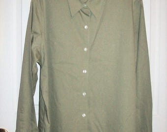 Vintage Ladies Khaki Tan Long Sleeve Shirt by Eddie XL Only 8 USD