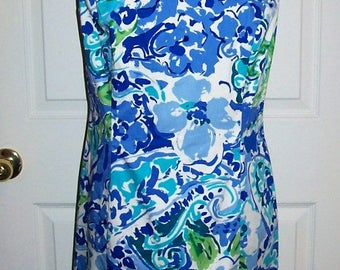 Vintage Ladies Blue Floral Print Sleeveless Dress by Chaps Size 10 Only 9 USD