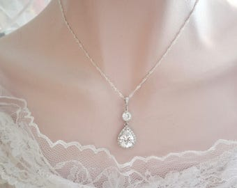 Brides necklace ~ AAA cubic zirconia necklace, Wedding necklace,Bridesmaid necklace,Brides teardrop necklace,Sterling silver bridal necklace