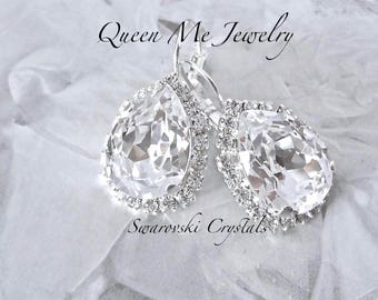 Crystal earrings, Halo crystal earrings,Swarovski Crystal earrings,Brides earrings,Leaver backs,Bridesmaids earrings,Wedding earrings,SOPHIA