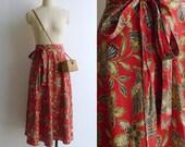 Vintage 70's Red Ethnic Batik Print Cotton Wrap Skirt XS S M L
