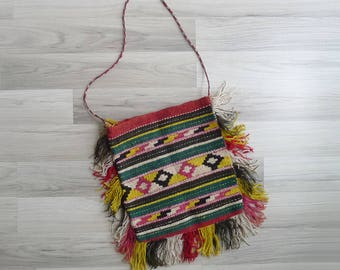 15% SALE (Code In Shop) - Vintage 70's Kilim Tapestry Aztec Woven Wool Fringe Sling Bag