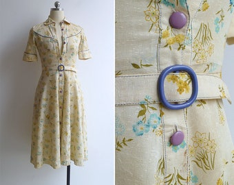 10-25% OFF Code In Shop - Vintage 70's 'Pressed Flowers' Western Country Fit & Flare Dress with Belt XXS or XS