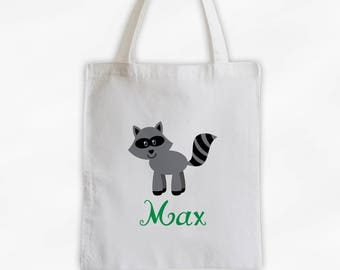 Personalized Raccoon Canvas Tote Bag - Forest Animal Custom Travel Overnight Bag for Boys or Girls - Reusable Tote (3042)