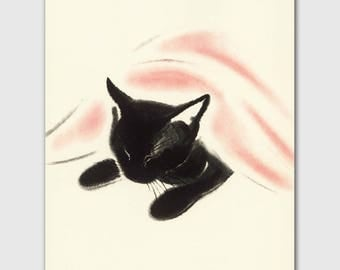 "Cat Print, Baby Nursery Decor (Vintage Black Cat Print, Playroom Wall Art) --- ""Cat Nap"""
