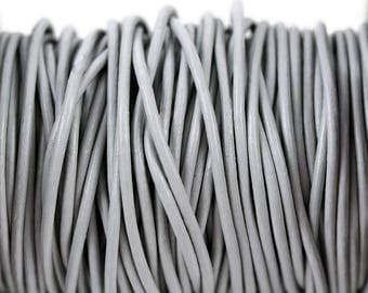 2mm Horizon Grey Leather Round Cord